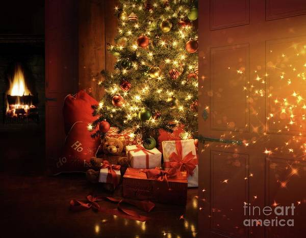 Bright; Card; Christmas; Christmas Eve; Contrast; Dark; December; Decoration; Evening; Fire; Fireplace; Holiday; Home; House; Interior; Lit; Living; Merry; Night; Ornaments; Room; Spirit; Tree; Warm; Warmth; Winter; Gift; Bag; Light; Ribbon; Xmas; Teddy; Bear; Ball; Art Print featuring the photograph Door Opening Onto Nostalgic Christmas Scene  by Sandra Cunningham