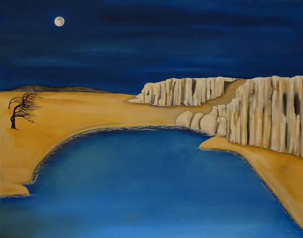Moon- Sand- Trees- Water- Cliffs- Rocks- Night Art Print featuring the painting Dream Scape by Gwen Albee
