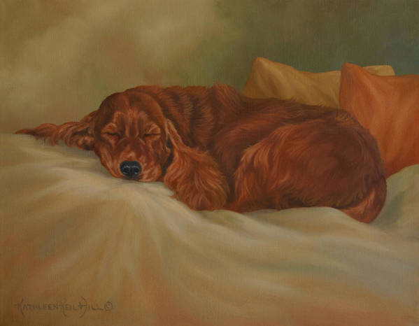 Dog Art Print featuring the painting Dreaming by Kathleen Hill