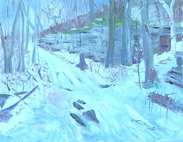Snow Scene Art Print featuring the painting Eel Bay Trail by Robert P Hedden