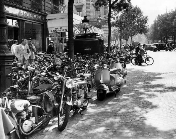Bicyclists Art Print featuring the photograph Ev1980 -street Scene In Paris, August by Everett