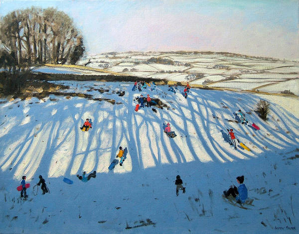 Sledging Art Print featuring the painting Fields Of Shadows by Andrew Macara