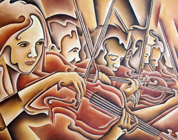 Music Art Print featuring the painting Five Violins by Rick Borstelman