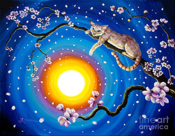 Flame Point Art Print featuring the painting Flame Point Siamese Cat In Cherry Blossoms by Laura Iverson