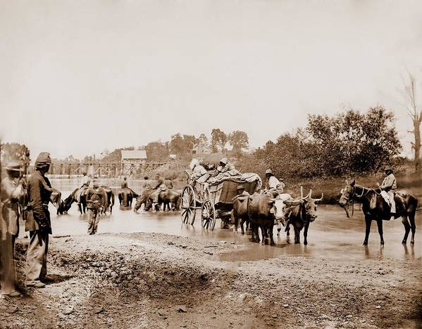 History Art Print featuring the photograph Fugitive African Americans Fording by Everett