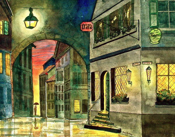 Tavern Art Print featuring the painting Goodnight Old Friends by Frank SantAgata