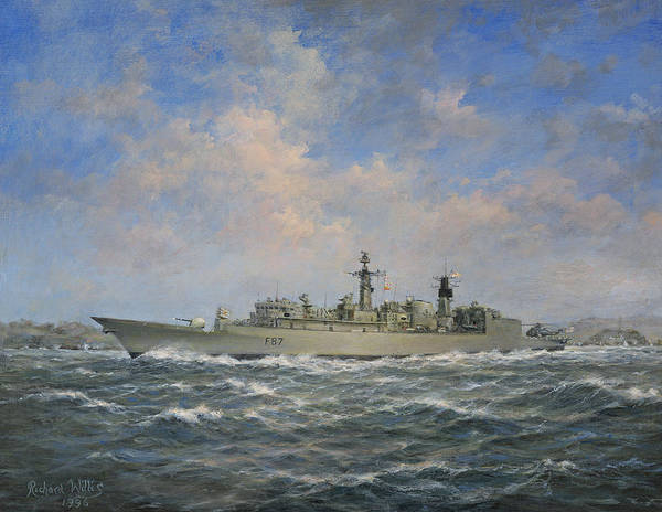 Seascape; Naval; Ship; Battleship; Warship;radar; Anti-aircraft Gun; Helicopter; F87; Frigate; Chatham; Sea; Water; Cloud; Clouds Art Print featuring the painting H.m.s. Chatham Type 22 - Batch 3 by Richard Willis