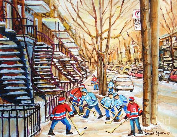 Montreal Art Print featuring the painting Hockey Game Near Winding Staircases by Carole Spandau