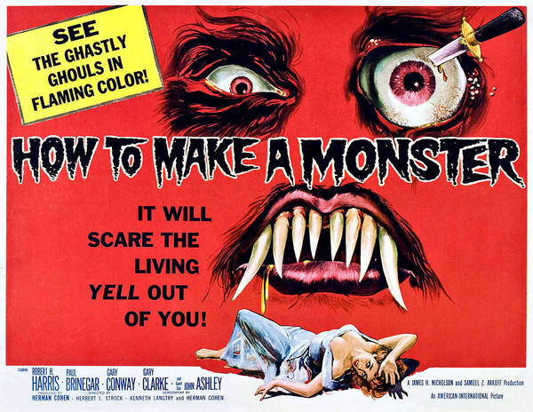 1950s Poster Art Art Print featuring the photograph How To Make A Monster, Half-sheet by Everett
