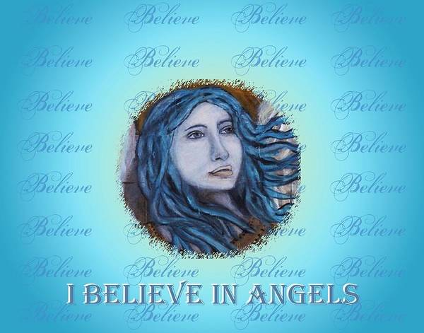 Angel Art Print featuring the mixed media I Believe In Angels by The Art With A Heart By Charlotte Phillips