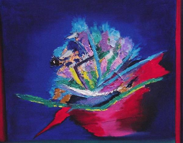 Abstract Art Print featuring the painting Impression Of Flowers by Karin Eisermann