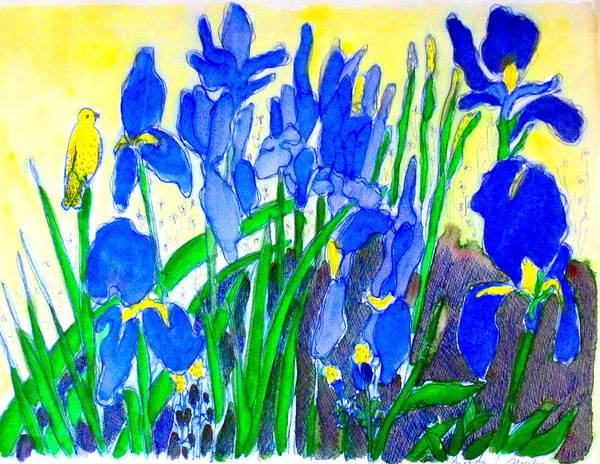 Iris Art Print featuring the painting In The Iris Bed by Brenda Bergen