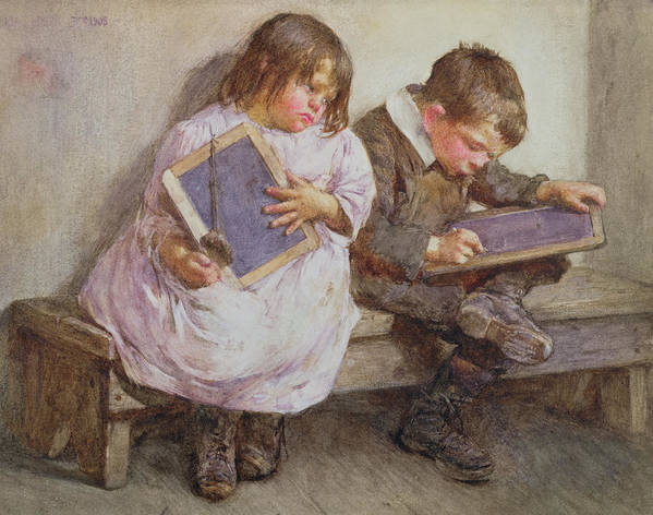 Children; Pupil; Student; Slate; Writing Tablet; Detention; Naughty Art Print featuring the painting Kept In by John Henry Henshall