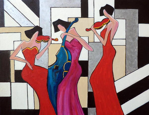 Ladies Art Print featuring the painting Lady Musicians by Rosie Sherman