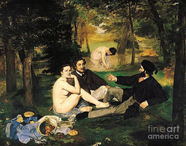 Pd Art Print featuring the painting Le Dejeuner Sur I' Herbe by Pg Reproductions