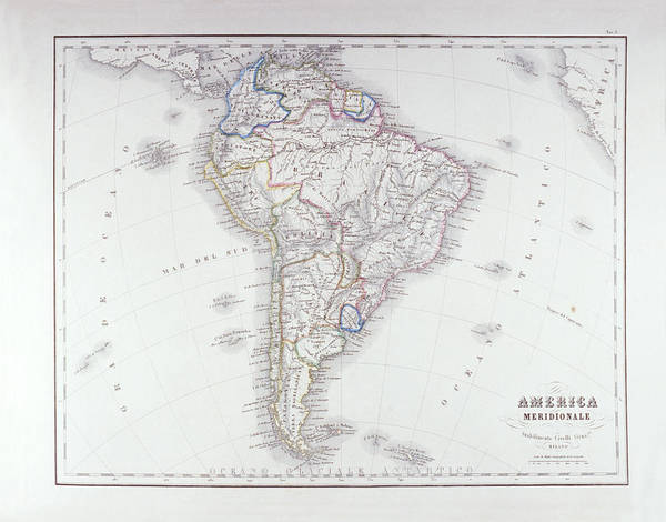 Horizontal Art Print featuring the digital art Map Of South America by Fototeca Storica Nazionale