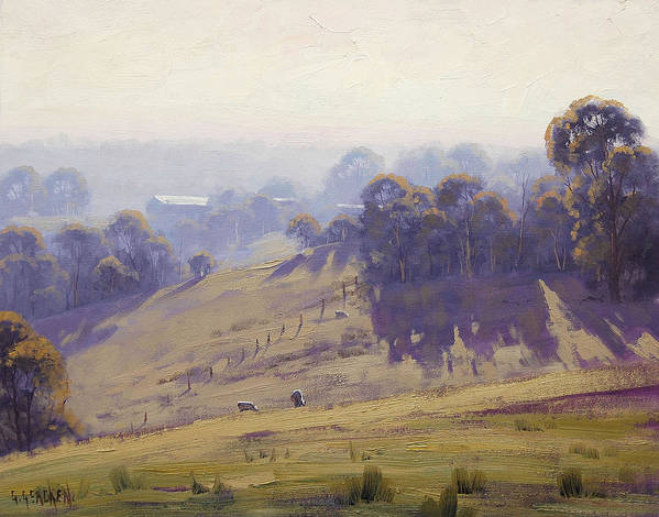 Hilly Art Print featuring the painting Misty Morning Cottles Bridge by Graham Gercken