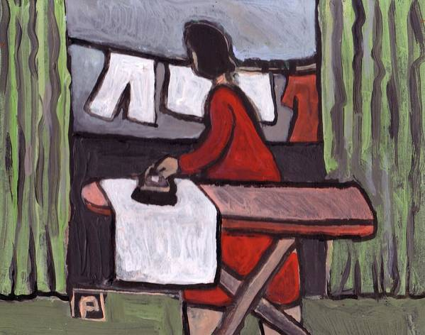 (mother Ironing Prints From My Original Primitive Folk Art Painting) Art Print featuring the mixed media Mother Ironing by Peter McPartlin