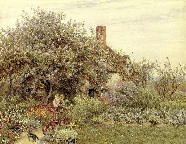 Cottage; Mother And Child; Rural Scene; Country; Countryside; Home; House; Path; Garden; Wildflowers; Irises; Picturesque; Idyllic; Daughter; Female Art Print featuring the painting Near Hambledon by Helen Allingham