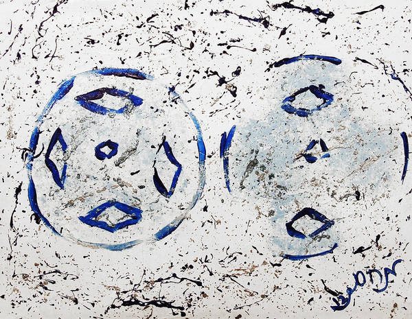 New Year Art Print featuring the painting New Year Rolls Around With Abstracted Splatters In Blue Silver White Representing Snow Excitement by M Zimmerman