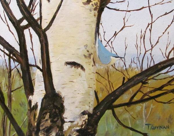 Art Print featuring the painting Nuthatch On A Silver Birch 2 by Tommy Givnan