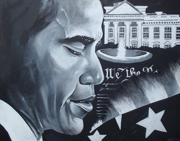 Art Prints Art Print featuring the painting Obama by Alonzo Butler