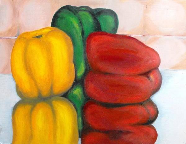 Vegetable; Paprica; Kitchen Art Print featuring the painting Paprika by Monika Nieborek