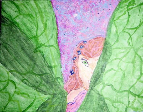 Fairy Art Print featuring the painting Peeking Fairy by Elizabeth Arthur
