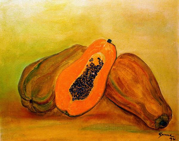 Still Life Art Print featuring the painting Ripe Papaya by Veronica Zimmerman