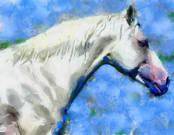 Horse Art Print featuring the digital art Sad Horse by Yury Malkov