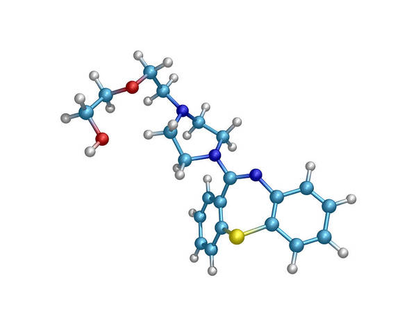 Quetiapine Art Print featuring the photograph Schizophrenia Drug Molecule by Dr Tim Evans