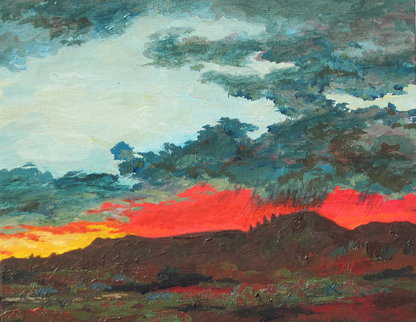 Sedona Art Print featuring the painting Sedona Sunset by Sandy Tracey
