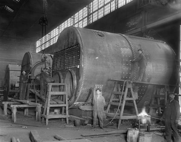Steam Ship Boilers Under Construction Art Print by Everett