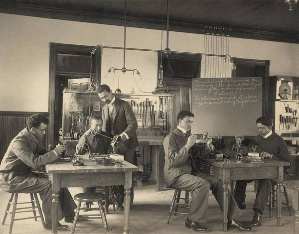 History Art Print featuring the photograph Students Constructing Telephones by Everett