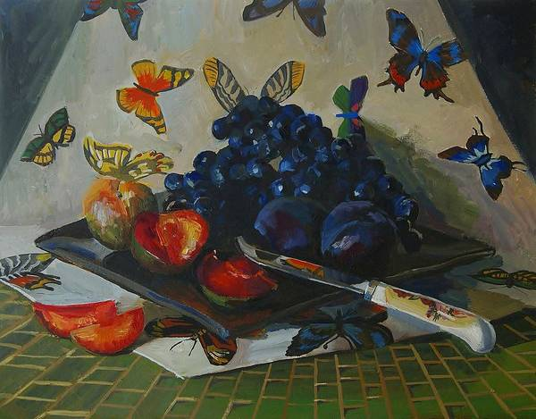 Still Life Art Print featuring the painting Summer Time by Masha Yakov