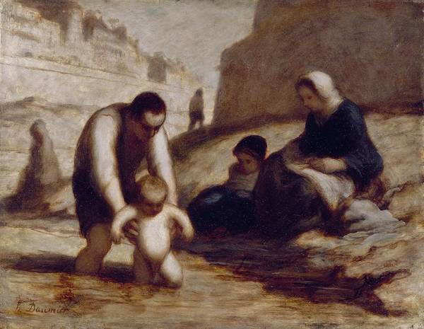 The Art Print featuring the painting The First Bath by Honore Daumier
