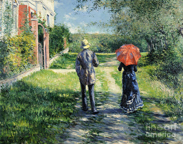 The Path Uphill Art Print featuring the painting The Path Uphil by Gustave Caillebotte