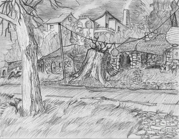 Landscape Art Print featuring the drawing The Stump by Jonathan Armes