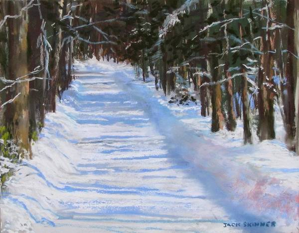 Snow Art Print featuring the painting The Valley Road by Jack Skinner