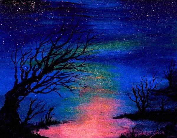 Night Scene Art Print featuring the painting Trees At Night by Real ARTIST SINGH