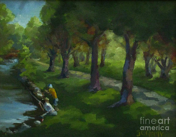 Landscape Art Print featuring the painting Walking Again In Cedar Park by Judith Reidy