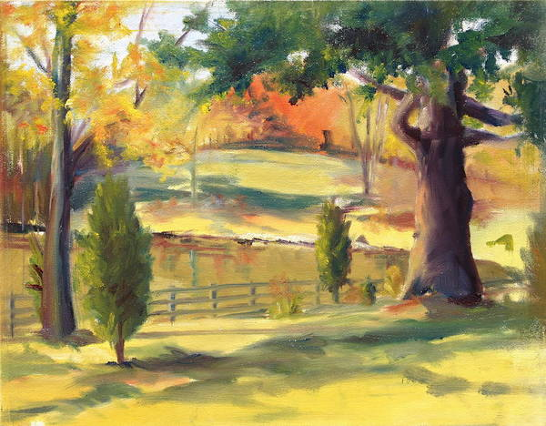 Landscape Art Print featuring the painting Warm Autumn by Judy Howard