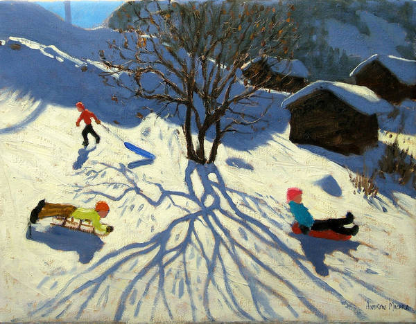 Sledging Art Print featuring the painting Winter Hillside Morzine France by Andrew Macara