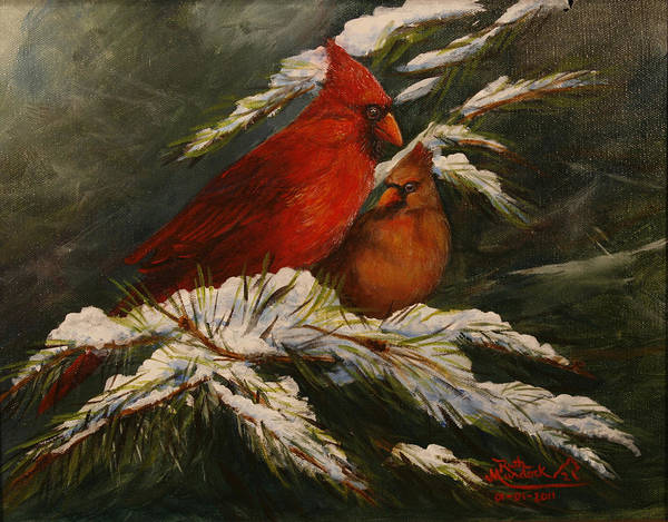 Birds Art Print featuring the painting Winters Cardinals Rule by Ruth Ann Murdock