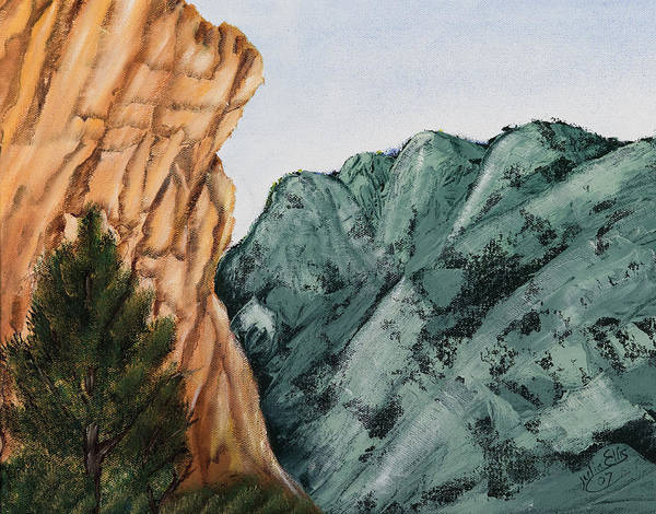 Landscapes Art Print featuring the painting Glimpse Of The Blues by Julia Ellis