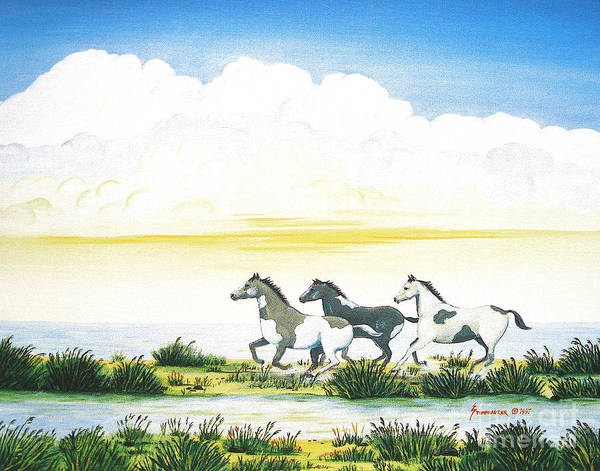 Chincoteague Art Print featuring the painting Indian Ponies by Jerome Stumphauzer