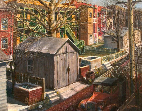 Cityscape Cityart City Alley Garages  Truck Ashpits Backyards Art Print featuring the painting Alley With Ashpits by Edward Farber