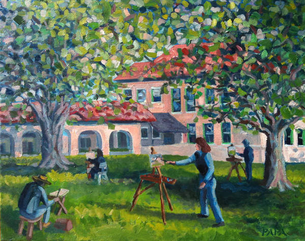Delray Beach Art Print featuring the painting Artists On Location by Ralph Papa