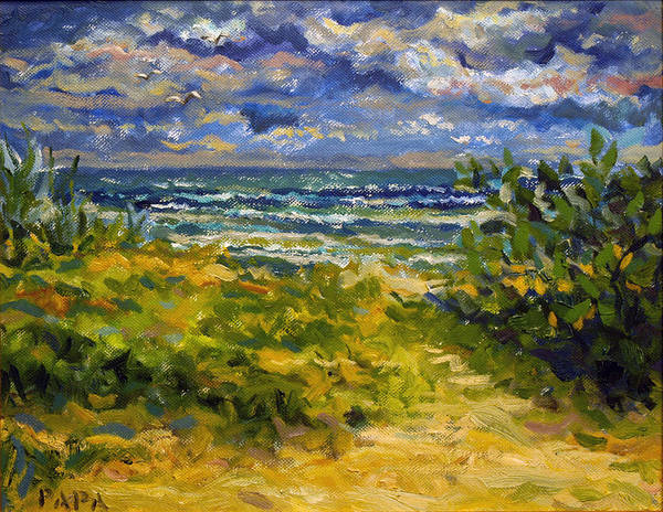 Delray Beach Art Print featuring the painting Beach At Delray by Ralph Papa