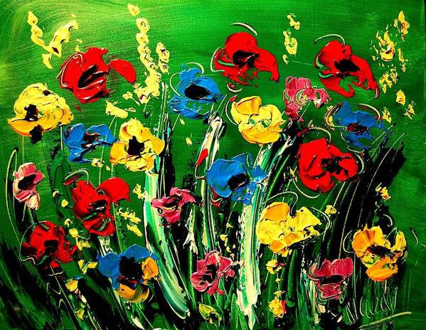 Flowers Art Print featuring the painting Flowers by Mark Kazav